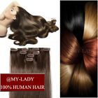 "Double Drawn Full End clip in human hair extensions Half Head 10"" -22"" 100% REMY"