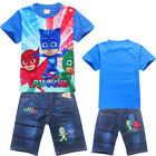 PJ MASKS boy tee top and denim pants set outfit kids summer cloth size 2-6 xmas