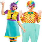 Colourful Clown Adults Fancy Dress Circus Carnival Funny Mens Womens Costume New