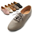 ollio Womens Ballet Flat Shoes Lace Up Multi Color Oxford