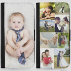 PERSONALISED SINGLE OR COLLAGE LEATHER FLIP WALLET PHONE CASE COVER FOR APPLE