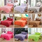 Poly Flat Sheets Comfort Solid Color Bed Covers Pillowcase Twin Full Queen image