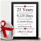 25th Wedding Anniversary Gift Silver Twenty Five Years Personalised Print Gift