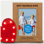PERSONALISED Best Grandad Ever Wooden Engraved Photo Frame Grandad Birthday Gift