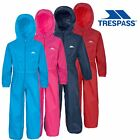 Trespass Boys Girls Rainsuit Waterproof All In One Suit For Kids Button