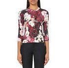 Karen Millen KX185 Rose Floral Print Popper Evening Dress Cardigan Knit 8 - 12
