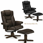 Malmo Recliner and Footstool swivel chair In Black or Brown  Faux Leather