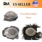 GEX Fine Mono With Skin Base Mens Toupee Hairpiece HumanHair Replacement Systems
