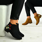 New Womens Ladies Ankle Boots Embroidered Flowers Zip Low Heel Shoes Size Uk 3-8