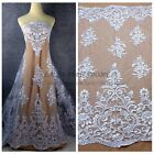 Off white/pure white polyester cord embroidered wedding dress lace fabric 1yard