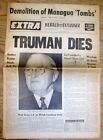 BEST 1972 display headline newspaper President HARRY TRUMAN is DEAD