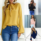 Womens Bowknot Neck Casual Long Sleeve T-Shirt Ladies Summer Loose Tops Blouse