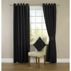 BLACK FAUX SILK RING TOP FULLY LINED READY MADE EYELET CURTAINS WITH TIEBACKS