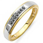 0.12 Carat 18K Gold Plated Sterling Silver Diamond Men's Wedding Band