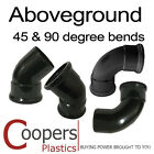 Aboveground 110mm Soil Fittings in Black - 45 & 90 degree bends & branches