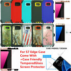 For Galaxy S7 Edge Defender Case w/ Tempered Glass Screen & Clip Fits Otterbox