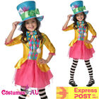 Girls Mad Hatter Alice In WONDERLAND DELUXE COSTUME Child BOOK WEEK Fancy Dress