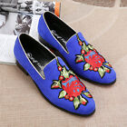 Vogue Mens Suede Pointy Toe Embroider Loafers Slip On Causal Dress Breath Shoes