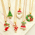 Xmas Necklace Christmas Tree Santa Crystal Chain Pendant Women Men Party Gift