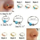 Small Thin Steel Silver Nose Ring Hoop 0.8mm Cartilage Piercing Studs Stud Rings