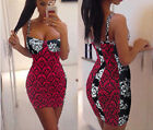 CHRISTMAS Womens Sexy Pink & Black Damask Style LBD Bodycon Mini Party Dress