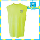 CAT CATERPILLAR MENS HI VIS SLEEVELESS TEE WORK/OCCUPATIONAL/SAFETY/GEAR YELLOW