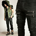 New Mens Casual Pants Wear DOUBLE ZIPPER PINTUCK CARGO COATED BLACK SLIM JEANS