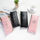 New Portable PU Pencil Case Toiletry Zip Pouch Makeup Cosmetic Storage Bag