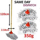 HEAVY DUTY LARGE Tall Pure Cotton Yarn Mop 1.2m  Long Wood Handle Stick Cleaning