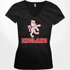 England White Lion Symbol Crest English Country Pride GBR Juniors V-Neck T-Shirt