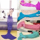 Kids Mermaid Tail Blanket Soft Warm Crochet Bedding Wrap Sleeping Bags For Girls