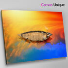 SC730 orange blue boat lake still Scenic Wall Art Picture Large Canvas Print