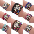 Charm Women Colorful Crystal Beads Quartz Bracelet Wristwatch Watch