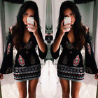 New Women Summer Boho Casual Long Sleeve Party Evening Cocktail Short Mini Dress