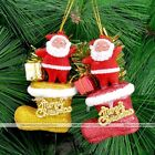Pair Santa Claus Shoe Hanging Decor Christmas Tree Home Window Party Ornament