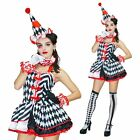 10PC SINISTER CLOWN COSTUME & STOCKINGS PIERROT HALLOWEEN FANCY DRESS HARLEQUIN
