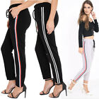 Womens Ladies Designer Style Stripe Tie Up Elasticated Trousers Bottoms Pants