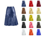 Luxury Ladies Real Genuine Leather Calf Length Fluffy Skirt with Zip at Back S33