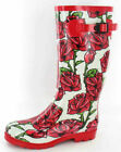 X1042- Ladies Funky White With Red Rose Print Wellies- *SALE*