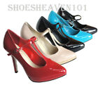 Women's Evening Dress Party Platform Buckle T-Strap High Heel Pump Shoes