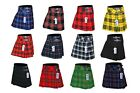 Внешний вид - Ladies Women's Girls 12 Tartan Pleated Billie Kilt Skirt Leather Buckled Straps