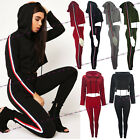 Womens Ladies Striped Skinny Fit Hooded Crop Top LoungeWear Tracksuit Bottom Set