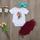 UK Stock Infant Baby Girls Outfits Feather Romper Top+Tassels Pants Clothes Set