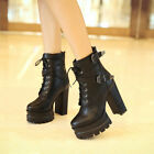 New Womens Ankle Boots Buckle Lace Up Block Hig hHeels Vintage Platform Shoes