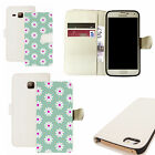 pu leather wallet case for majority Mobile phones - blue inviting daisy white