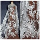 New off white embroidered lace fabric 51'' width