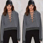 UK Women V Neck Lace-up Blouse Long Sleeve Hoodie Casual Pullover Sweatshirt Top