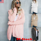 Women Long Sleeve Fur Cardigan Loose Sweater Outwear Jacket Coat Sweater Top USA