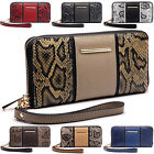 Wristlet Large Zip Around Women Wallet 8 Card Slot Coin Pouch Faux Leather Purse