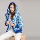 2017 Fall Blue and white porcelain Printed Hooded Bomber Jacket #1792213